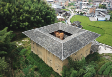 One of John Lin's Tulou renovation, with a wooden tower staircase installed inside the building. Photo courtesy of Faculty of Architecture, Hong Kong University
