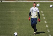 Goalkeeper Manuel Neuer of Bayern Munich attends a training session in Munich, Germany, April 6, 2020. Bayern Munich resumed training session on Monday after COVID-19 outbreak. (Photo by Philippe Ruiz/Xinhua)