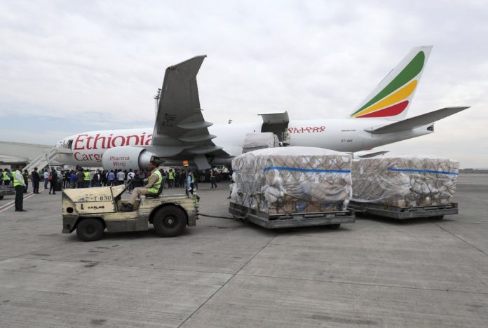 Coronavirus testing supplies being unloaded at the Bole International Airport in Addis Ababa, Ethiopia, in March.Credit…Tiksa Negeri/Reuters