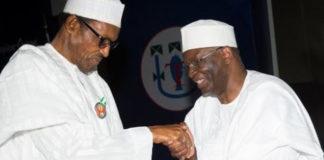 President Muhammadu Buhari-left and his new Chief of Staff, Prof Ibrahim Gambari-right. (Politics Nigeria)