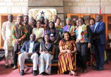 outh leaders for Health Ghana, led by Dr. Anie (seated far right) meeting with Ghana Ambassador to Ethiopia (Her Excellency Amma Twum-Amoah seated in the middle), January 2020