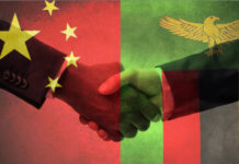 Zambia China Flag Handshake