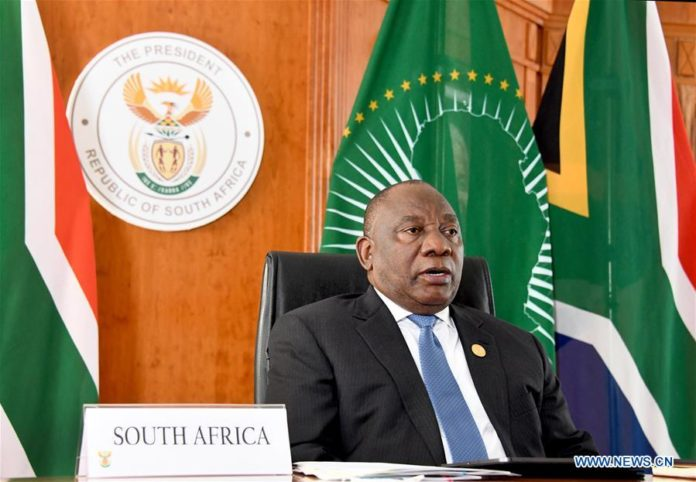 South African President Cyril Ramaphosa speaks at the Extraordinary China-Africa Summit on Solidarity against COVID-19 in Pretoria, South Africa, June 17, 2020. The summit, held via video link, was jointly proposed by China, South Africa, the rotating chair of the African Union (AU), and Senegal, the co-chair of the Forum on China-Africa Cooperation (FOCAC). (South Africa Presidency/Handout via Xinhua)