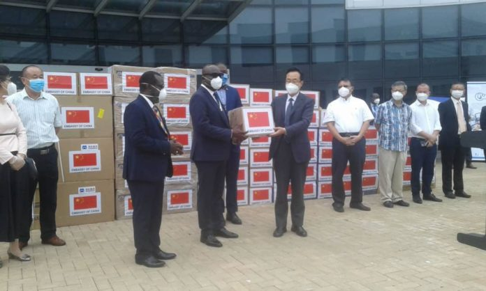 Chinese Embassy presenting medical supplies