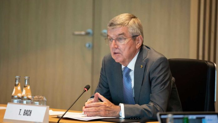 IOC President Thomas Bach chairs the IOC Executive Board meeting in Lausanne at Olympic House on June 10, 2020. (Photo by Greg Martin/IOC)