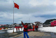 Photo taken at China's Antarctic research station, the Great Wall station, on Nov.24, 2019, shows a Chinese national flag fluttering in the wind.Photo by Sun Jianxin/People's Daily Online
