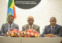 """Press secretary at the office of the Prime Minister Nigusu Tilahun (L), Ethiopia's Minister of Water, Irrigation and Electricity Dr. Eng. Seleshi Bekele (C) and Minister of Foreign Affairs Gedu Andargachew attend a press conference in Addis Ababa, capital of Ethiopia, March 3, 2020. Ethiopia on Tuesday accused the United States of being """"undiplomatic"""" in trying to resolve a row over Grand Ethiopian Renaissance Dam but vowed to continue with ongoing talks. (Xinhua/Michael Tewelde)"""