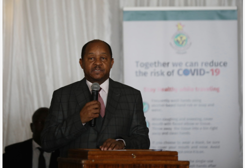 Zimbabwean health minister Obadiah Moyo addresses the launching ceremony for the country's preparedness and response plan against COVID-19, in Harare, Zimbabwe, March 19, 2020. Zimbabwean President Emmerson Mnangagwa on Thursday thanked China and other countries for the support they have rendered to Zimbabwe as it steps up its preparedness to combat coronavirus (COVID-19). (Photo by Shaun Jusa/Xinhua)