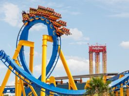 Photo taken on June 20, 2020 shows a roller coaster at the reopened Six Flags Fiesta Texas in San Antonio, Texas, the United States. The famous Six Flags Fiesta Texas reopened to public on June 19. Due to COVID-19 pandemic, the park was closed since mid-March. (Photo by Lie Ma/Xinhua)