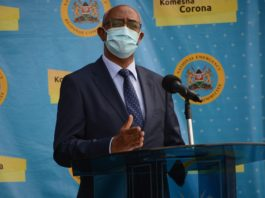 Chief Administrative Secretary for Health Rashid Aman speaks during a press briefing at Afya House in Nairobi, capital of Kenya, June 29, 2020. Rashid Aman on Monday announced that 120 more people have tested positive for the coronavirus in Kenya, raising the country's total number of confirmed cases since March 13 to 6,190. (Xinhua/Fred Mutune)