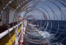 Razor Wires On Board A Ship Used As Anti Piracy Measures Adobe Stock