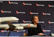 Qantas Group Chief Financial Officer Vanessa Hudson during the company's results announcement press conference in Sydney, Australia, 20 August 2020. Qantas CEO Alan Joyce has said the company's has taken a 2.87 billion US dollar (4 billion Australian dollar) revenue loss due to the coronavirus pandemic. EPA/DEAN LEWINS AUSTRALIA AND NEW ZEALAND OUT