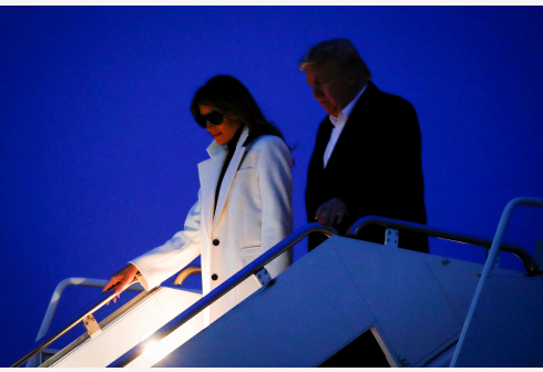 U.S. President Donald Trump and first lady Melania Trump arrive aboard Air Force One after returning from a two-day trip to India, at Joint Base Andrews in Maryland, U.S., February 26, 2020. REUTERS/Al Drago