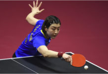 DOHA, March 7, 2020 (Xinhua) -- Chen Meng of China competes against her compatriot Wang Manyu during the women's singles semifinal match at 2020 ITTF Qatar Open in Doha, Qatar on March 7, 2020. (Photo by Nikku/Xinhua)