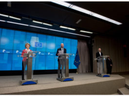 BRUSSELS, March 18, 2020 (Xinhua) -- European Commission President Ursula von der Leyen (1st L) and European Council President Charles Michel (C) attend a press conference after a video conference in Brussels, Belgium, March 17, 2020. The heads of state and government of the European Union (EU) agreed during the video conference on Tuesday to endorse a temporary restriction on travels to the EU territory amid coronavirus concerns. (European Union/Handout via Xinhua)
