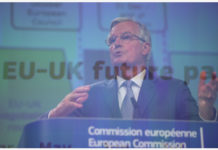 BRUSSELS, March 19, 2020 (Xinhua) -- File multiple exposure photo taken on Feb. 3, 2020 shows Michel Barnier, EU chief Brexit negotiator, speaking during a press conference in Brussels, Belgium. Michel Barnier, the European Union's chief negotiator with the United Kingdom on the latter's withdrawal, said on Twitter on Thursday that he has tested positive for the novel coronavirus. (Xinhua/Zhang Cheng)