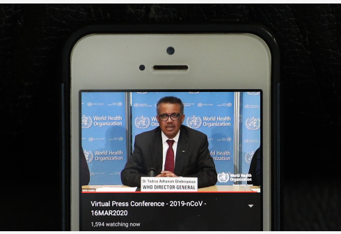 Photo taken in Brussels of Belgium on March 16, 2020 shows World Health Organization (WHO) Director-General Tedros Adhanom Ghebreyesus speaking at a virtual press conference held in Geneva, Switzerland.