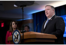 "U.S. Secretary of State Mike Pompeo (R) speaks during a press briefing in Washington D.C., the United States, on March 5, 2020. Pompeo said Thursday the increasing violence in some parts of Afghanistan was unacceptable, urging warring parties to ""stop posturing"" before intra-Afghan peace talks. (Xinhua/Liu Jie)"