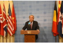 "UNITED NATIONS, Feb. 28, 2020 (Xinhua) -- United Nations Secretary-General Antonio Guterres attends a press encounter at the UN headquarters in New York, on Feb. 28, 2020. The latest attacks in opposition-held northwest Syria marks ""one of the most alarming moments"" in the nearly nine-year-old conflict, Guterres said on Friday. (Xinhua/Wang Jiangang)"