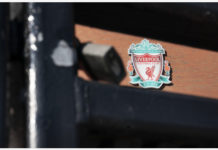 BEIJING, May 3, 2020 (Xinhua) -- Liverpool Football Club's Anfield Stadium is locked and empty as sport events continue to be suspended during the COVID-19 pandemic in Liverpool, Britain, May 2, 2020. (Photo by Jon Super/Xinhua)