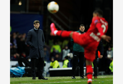 Europa League - Round of 16 First Leg - Rangers v Bayer Leverkusen - Ibrox, Glasgow, Scotland, Britain - March 12, 2020 Rangers manager Steven Gerrard looks dejected Action Images via Reuters/Lee Smith