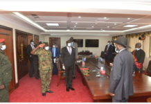 JUBA, May 18, 2020 (Xinhua) -- The new chief of the army General Johnson Juma Okot (2nd L, Front) salutes President Salva Kiir (1st R) at the State House in Juba, capital of South Sudan, May 15, 2020. The new army chief of South Sudan People's Defense Forces (SSPDF) was first promoted from the rank of lieutenant-general to the rank of a general prior to becoming army chief. (Xinhua/Daniel Majak)