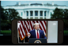 "Photo taken on May 29, 2020 shows the live broadcast of U.S. President Donald Trump speaking at a press conference at the White House in Washington D.C.. U.S. President Donald Trump said on Friday that his country is ""terminating"" its relationship with the World Health Organization. (Xinhua/Liu Jie)"