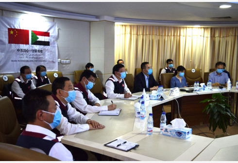 KHARTOUM, June 7, 2020 (Xinhua) -- Members of the Chinese medical expert team attend a video conference on prevention of the coronavirus with China's embassies in South Sudan, Mauritania and Morocco held in Khartoum, Sudan, on June 5, 2020. TO GO WITH