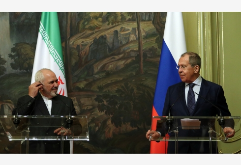MOSCOW, June 16, 2020 (Xinhua) -- The handout photo released by Russian Foreign Ministry on June 16, 2020 shows Russian Foreign Minister Sergei Lavrov (R) and Iranian Foreign Minister Mohammad Javad Zarif attending a news conference following their meeting in Moscow, Russia, on June 16, 2020. The U.S. attempts to force Iran nuclear deal participants to renounce their obligations and to punish Tehran by illegitimate initiatives, including the arms embargo, have no prospects from the point of view of international law, Russian Foreign Minister Sergei Lavrov said Tuesday. (Sputnik via Xinhua) Editorial use only, no archive, no commercial use.