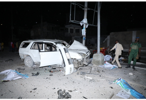 MOGADISHU, Aug. 17, 2020 (Xinhua) -- Photo taken on Aug. 17, 2020 shows the blast site of the Elite hotel in Mogadishu, Somalia. At least 16 people, including suspected attackers, were confirmed dead, and 28 others injured in the attack at a popular hotel in Somalia capital Mogadishu on Sunday. (Photo by Hassan Bashi/Xinhua)