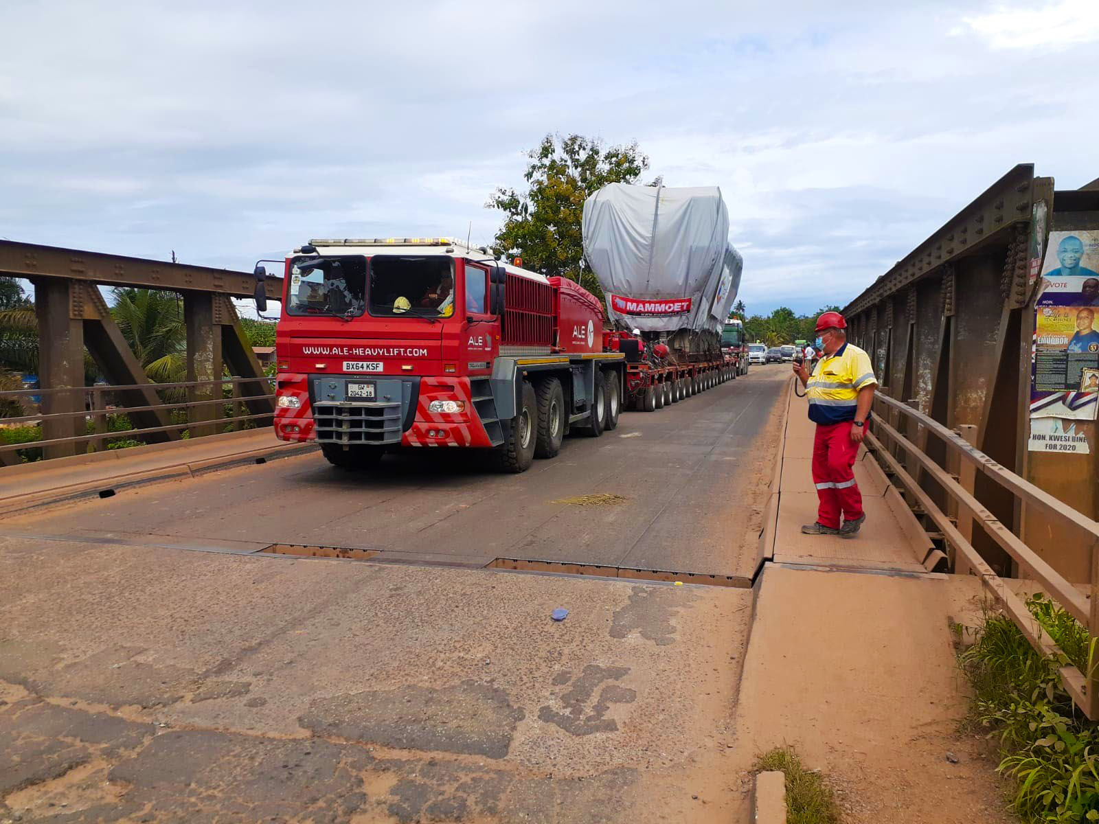 Transporting engines across two countries