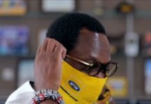 MTN Ghana CEO, Selorm Adadevoh wearing his face mask