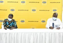 Eric Nsarkoh Sales And Distribution Executive Of Mtn Ghana Signed The Mou On Behalf Of Mtn Ghana And Nana Adjoa Adobea Asante Acting Director Of National Folklore Board Signed On Behal Of The Nfb