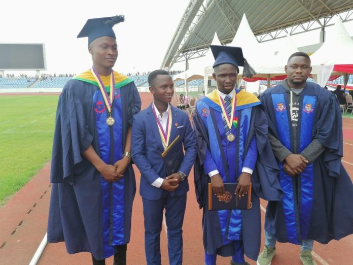 A Group Picture Of Mr Samuel Appiah Elvis Attah Francis Chempa And Seth Kofi Pobee Beneficiaries Who Graduated From The University Of Cape Coast