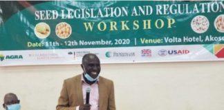 Mr. Forster Boateng AGRA Regional Head, West Africa addresses participants at the Seed Legislation Workshop