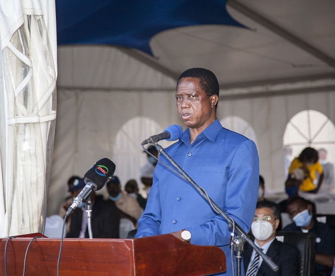 Zambian President Edgar Lungu delivers a speech at the launch of blueberry export to China in Chongwe, Zambia, on Nov. 13, 2020. Zambia on Friday flagged off its inaugural export of fresh blueberries to China, becoming the first country in southern Africa to enter the huge Chinese market. (Photo by Martin Mbangweta/Xinhua)