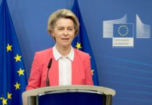 "European Commission President Ursula von der Leyen makes a press statement in Brussels, Belgium, Dec. 13, 2020. European Commission President Ursula von der Leyen said Sunday that the European Union (EU) and UK negotiating teams have been mandated to continue the post-Brexit trade talks. After a ""constructive and useful phone call"" with British Prime Minister Boris Johnson, von der Leyen said it remains to be seen if an agreement can be reached even ""at this late stage."" (European Union/Handout via Xinhua)"