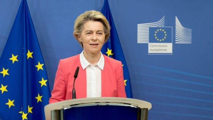European Commission President Ursula von der Leyen makes a press statement in Brussels, Belgium, Dec. 13, 2020. European Commission President Ursula von der Leyen said Sunday that the European Union (EU) and UK negotiating teams have been mandated to continue the post-Brexit trade talks. After a