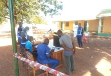 Some voters going through the process at the Lambussie Constituency