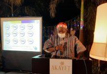 Photo of Mr Sebastian Mawuli Hotor addressing participants at the carols night