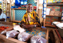 A woman sells produce in a market in Madina village, Kismayo, in March 2019. Photo: Rikka Tupaz/IOM