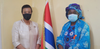 Fatou Kinteh, Gambian Minister for Women's Affairs, Children and Social Welfare, joined the Commonwealth Secretary-General in Banjul
