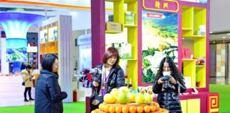 A visitor is in talks for purchase of navel oranges from southern Jiangxi at the Ganzhou booth of the 13th China Green Food Expo at the Nanchang Greenland International Expo Center in Nanchang, capital of east China's Jiangxi province, Dec. 18. (Photo by Zhu Haipeng/People's Daily Online)