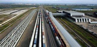Aerial photo shows trains at the Nairobi railway station in Nairobi, capital of Kenya. /Xinhua