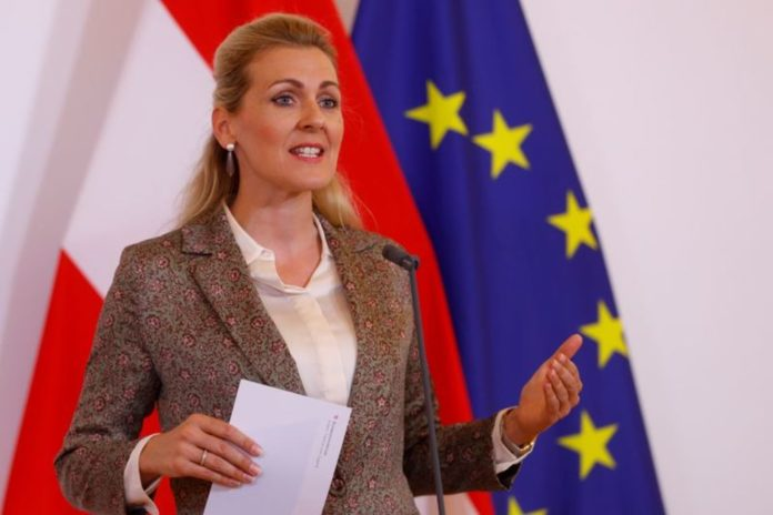 FILE PHOTO: Austrian Family Minister Christine Aschbacher talks to the media during the coronavirus disease (COVID-19) outbreak in Vienna, Austria, June 15, 2020. REUTERS/Leonhard Foeger/File PhotoREUTERS