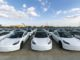 Photo taken on Oct. 19, 2020 shows the Tesla China-made Model 3 vehicles which will be exported to Europe at Waigaoqiao port in Shanghai, east China, Oct. 19, 2020. U.S. carmaker Tesla announced on Monday that it would export the made-in-China Model 3 to Europe, marking another important milestone for its Shanghai Gigafactory. The first batch of exported sedans will leave Shanghai next Tuesday and arrive at the port of Zeebrugge in Belgium at the end of November before being sold in European countries, including Germany, France, Italy, Spain, Portugal, and Switzerland. (Xinhua/Wang Xiang)
