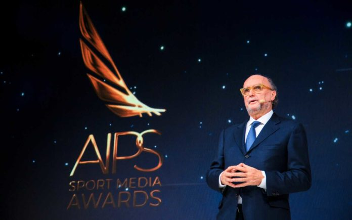 AIPS President Gianni Merlo delivering his welcome speech at the AIPS Sport Media Awards 2019 ceremony in Budapest, February 3, 2020. Photo by Carlo Pozzoni/Nordcapstudio