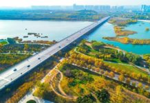 Hutuo River, Zhengding county, Shijiazhuang, north China's Hebei province, glitters with vitality after an ecological restoration project was implemented, Nov. 6, 2020.