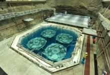 Four neutrino detectors are installed in a huge pool. Photo by the Institute of High Energy Physics, Chinese Academy of Sciences