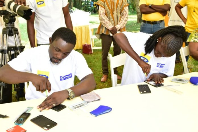 Some Of The Students Demonstrating Their Skills On Mobile Phone Repairs At The Commissioning At Nsawam